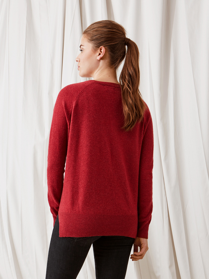 Soft Goat V-Neck Cardigan Pomegranate