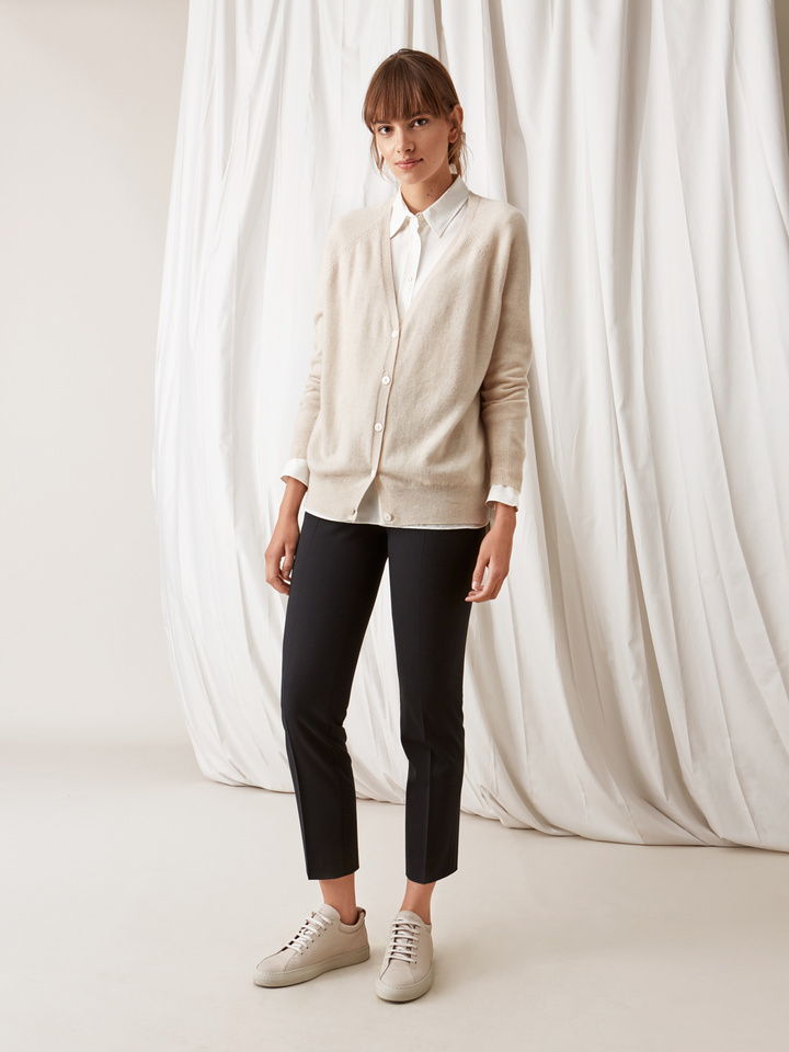 Soft Goat V-Neck Cardigan Beige