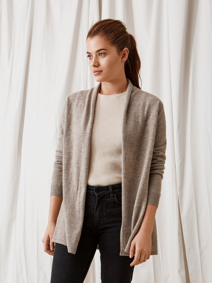 Soft Goat Waterfall Cardigan Light Taupe