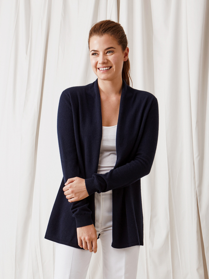 Soft Goat Waterfall Cardigan Navy