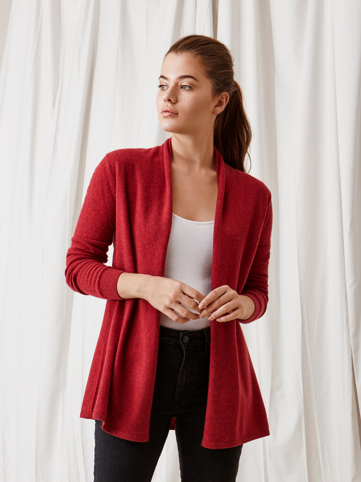 Soft Goat Waterfall Cardigan Pomegranate