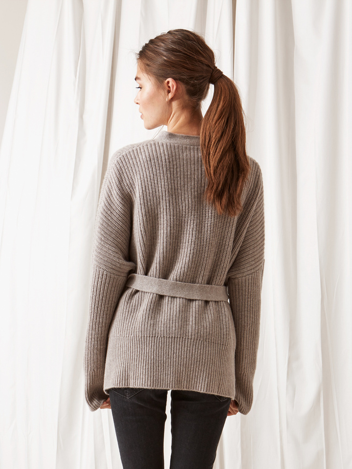 Soft Goat Wrap Cardigan Light Taupe