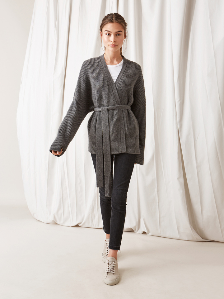 Soft Goat Women's Wrap Cardigan Dark Grey