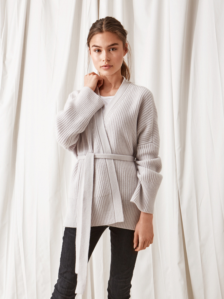 Soft Goat Women's Wrap Cardigan Silver Grey