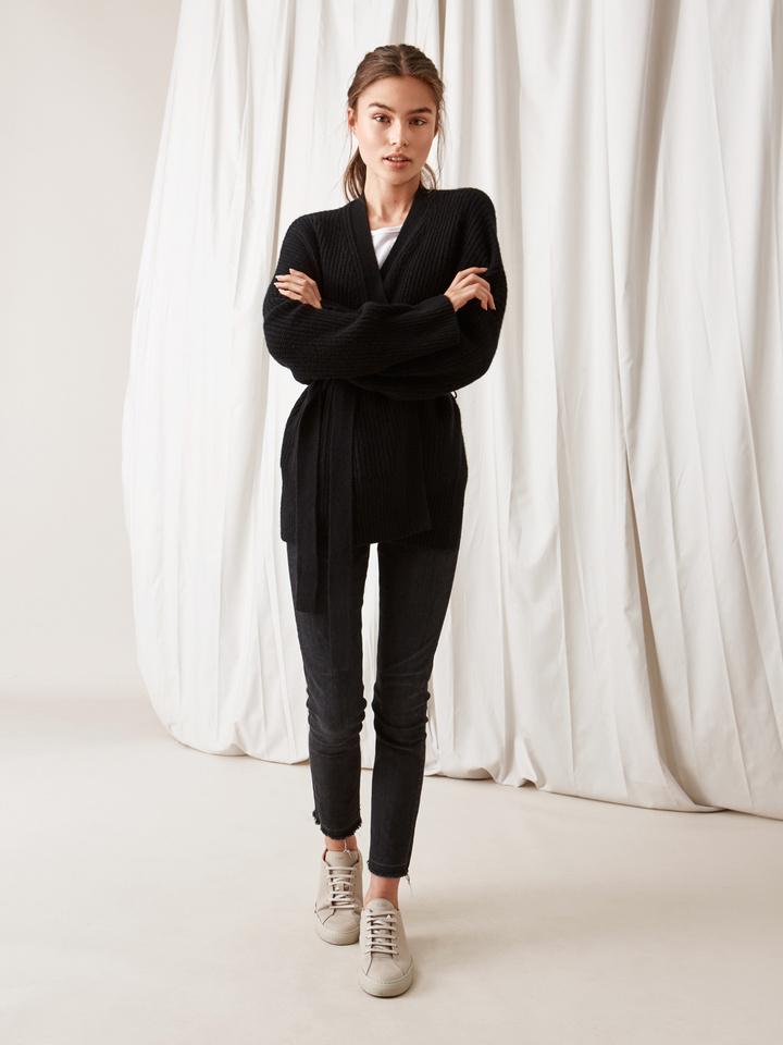 Soft Goat Women's Wrap Cardigan Black