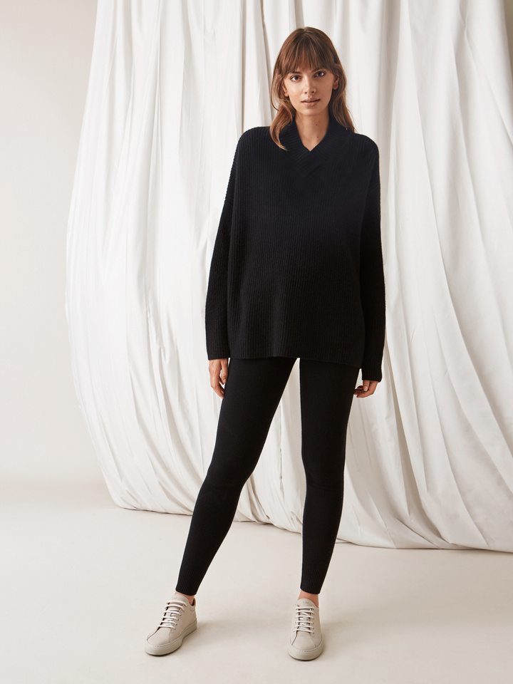 Soft Goat Ribbed Collar Sweater Black