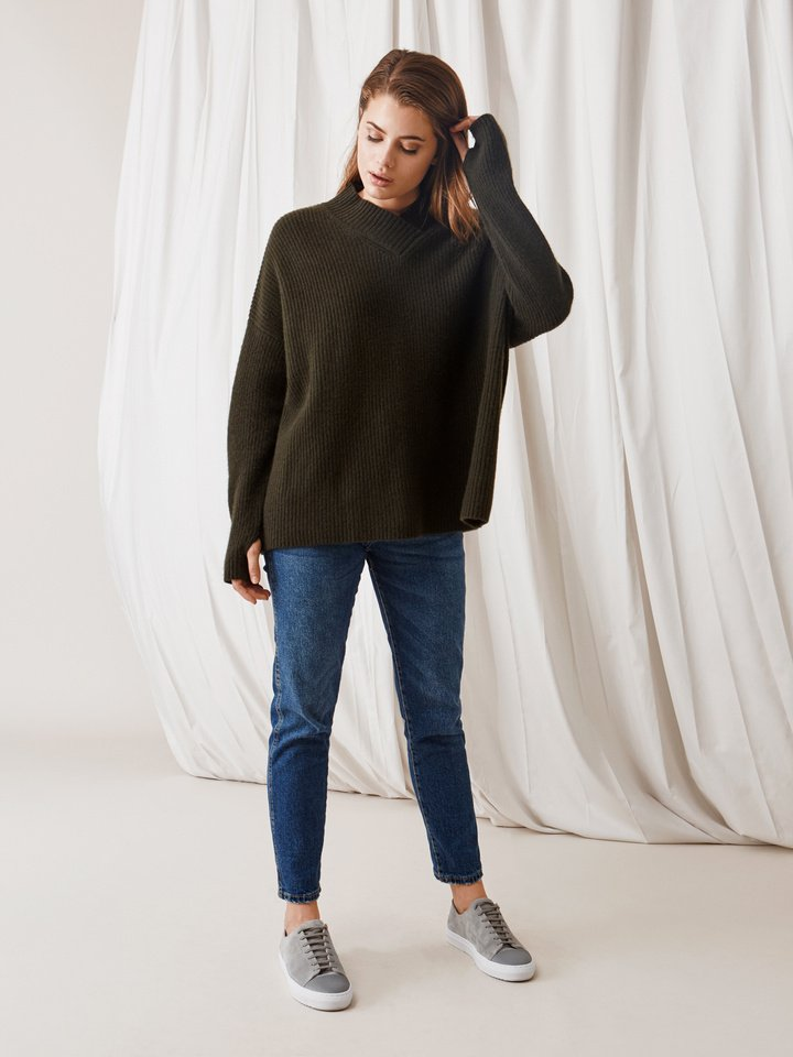 Soft Goat Ribbed Collar Sweater Deep Green