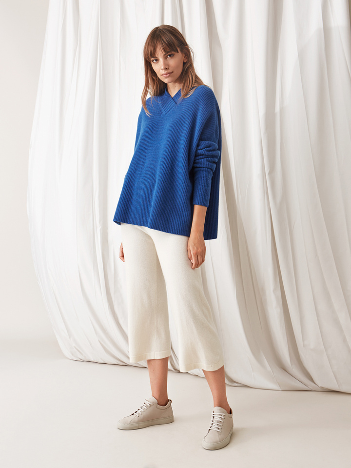 Soft Goat Ribbed Collar Sweater Royal Blue