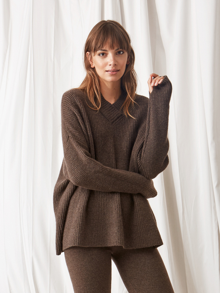 Soft Goat Ribbed Collar Sweater Mocca