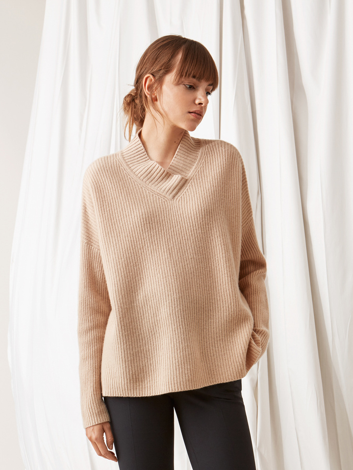 Soft Goat Ribbed Collar Sweater Camel