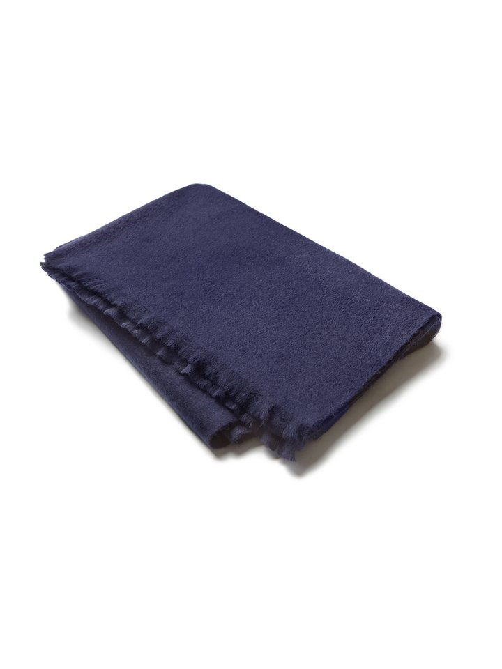 Soft Goat Men's Woven Scarf Navy