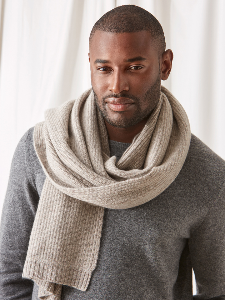 Soft Goat Ribbed Scarf Light Taupe