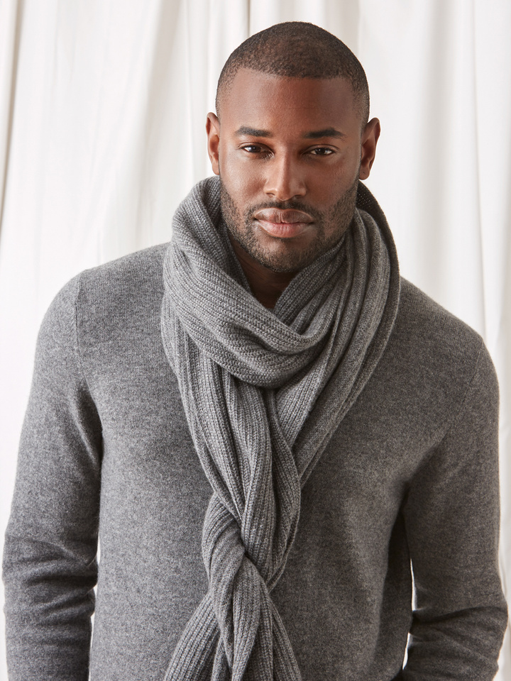 Soft Goat Ribbed Scarf Dark Grey