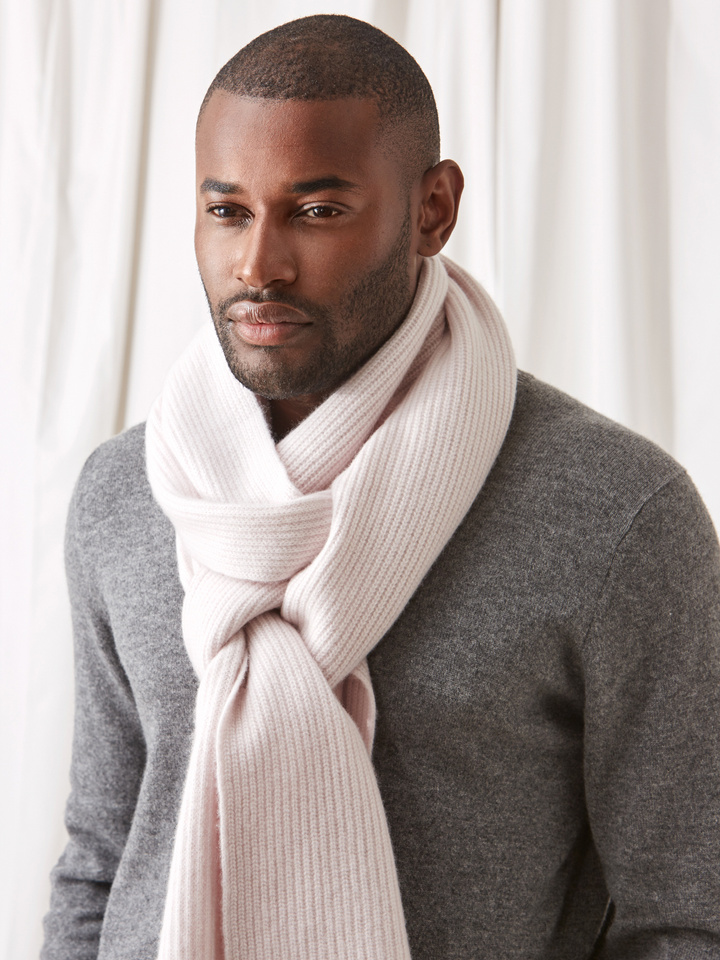 Soft Goat Ribbed Scarf Marshmallow