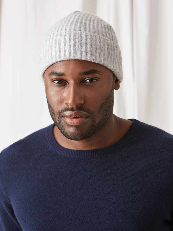 Soft Goat Ribbed Beanie Light Grey