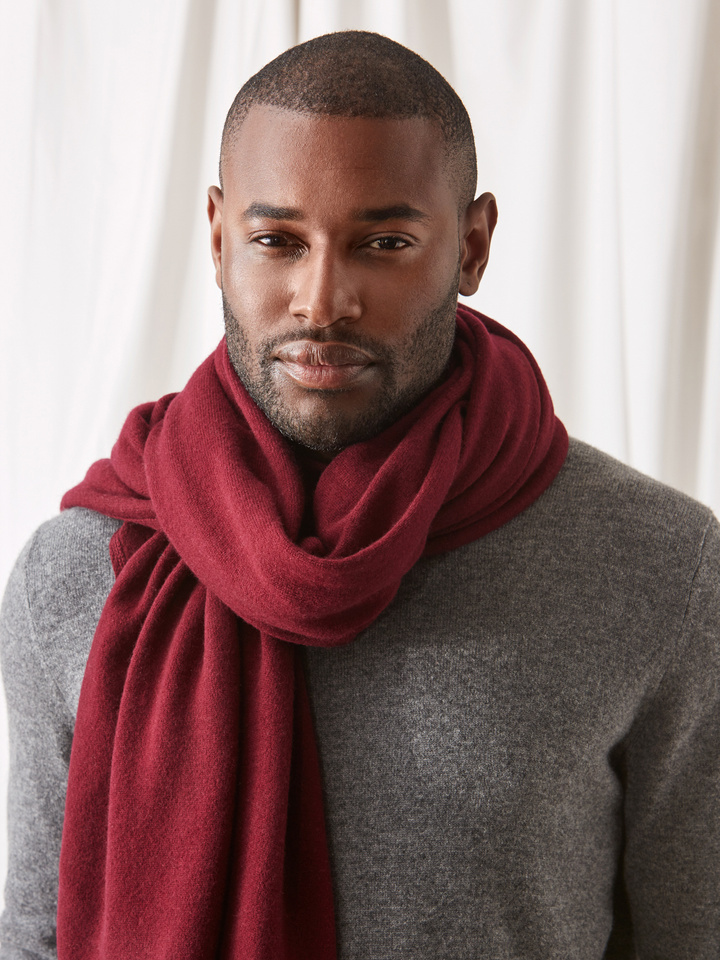Soft Goat Plain Knitted Scarf Burgundy