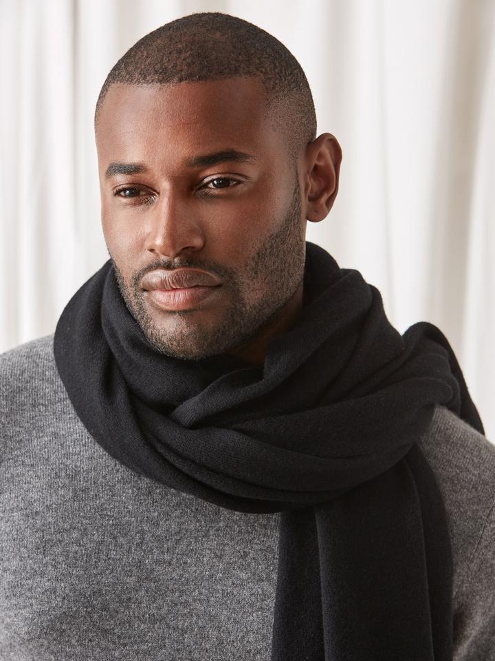 Soft Goat Plain Knitted Scarf Black