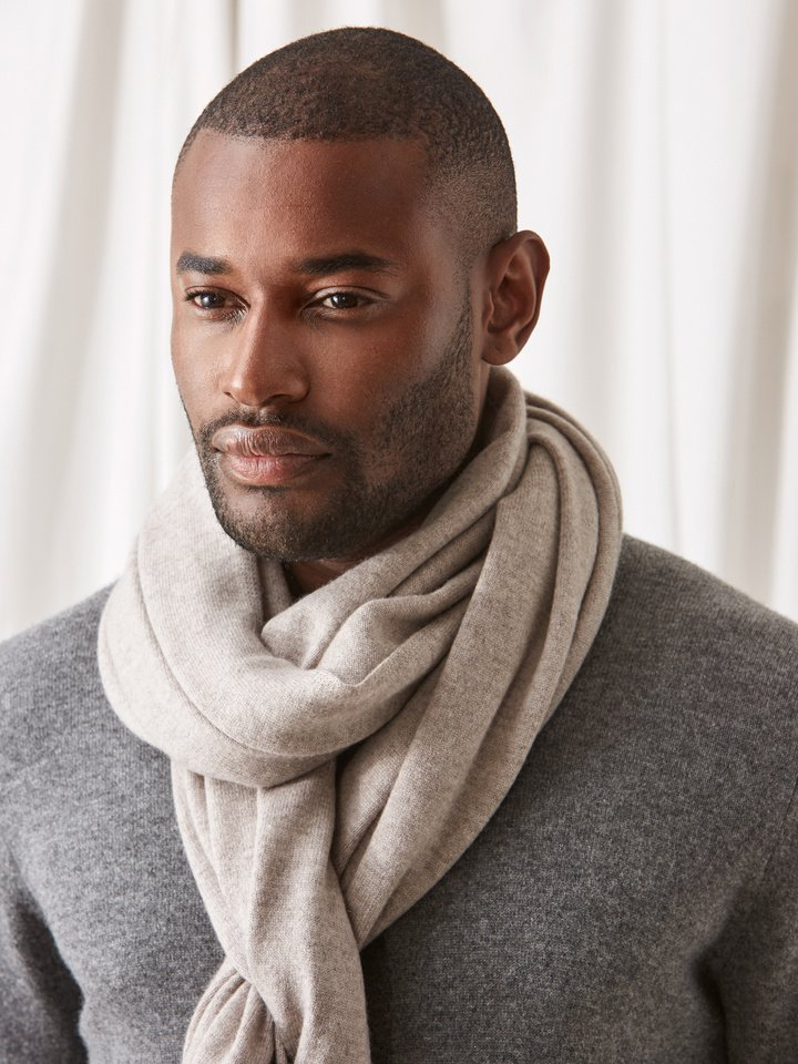 Soft Goat Plain Knitted Scarf Light Taupe