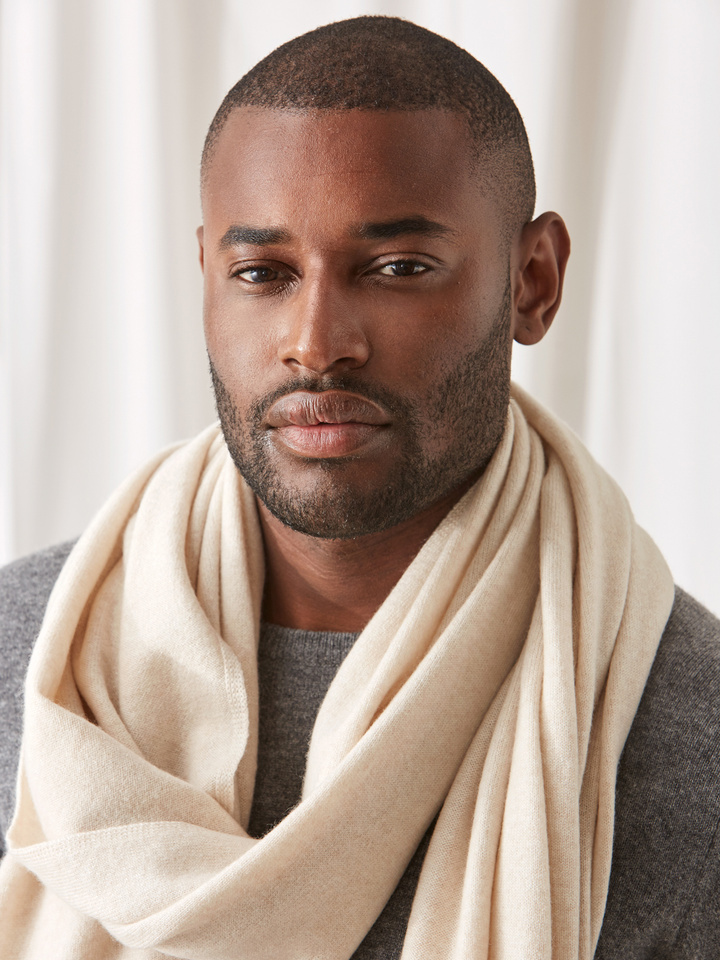 Soft Goat Plain Knitted Scarf Beige