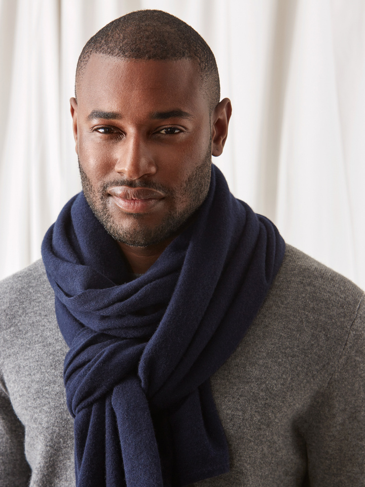 Soft Goat Plain Knitted Scarf Navy