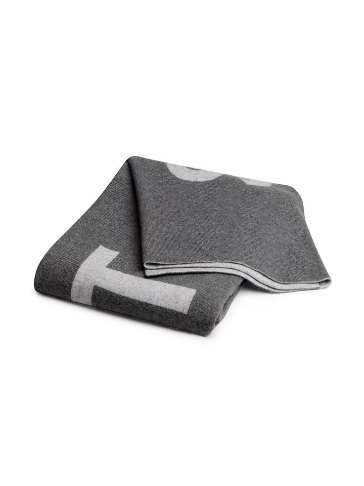 Soft Goat Logo Scarf Grey/dark Grey