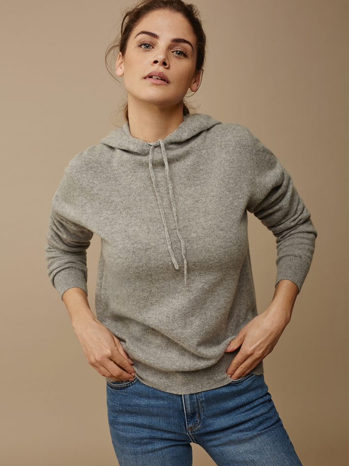 Soft Goat Hoodie Without Zipper Grey