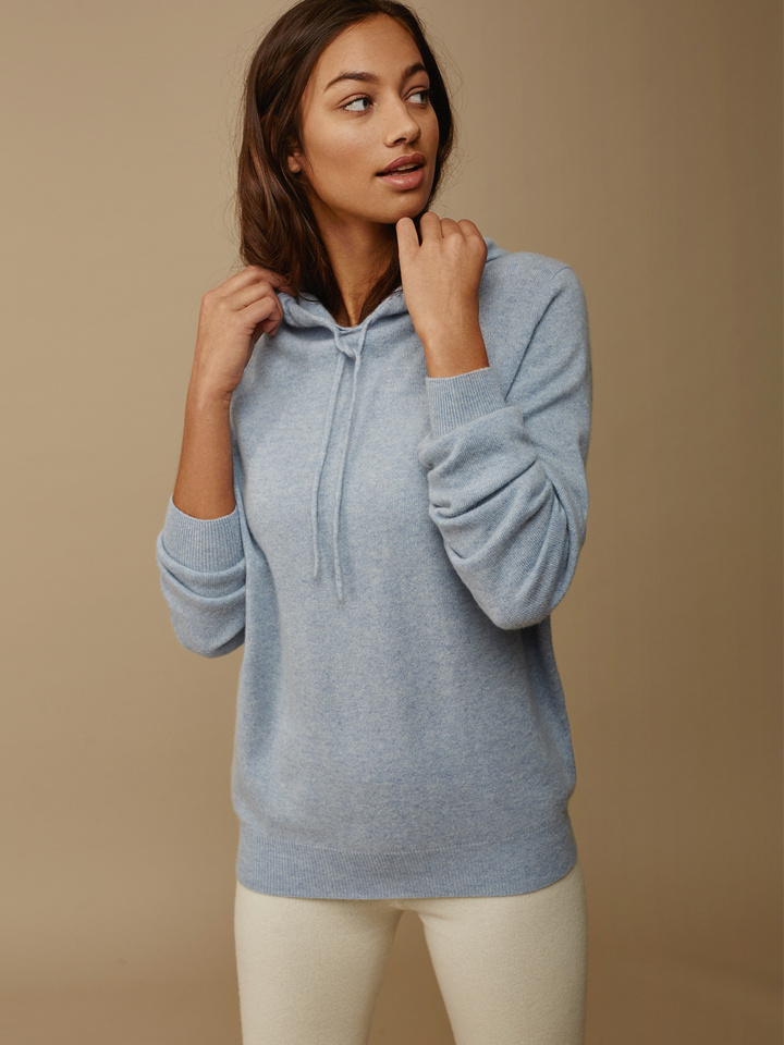 Soft Goat Hoodie Without Zipper Light Blue