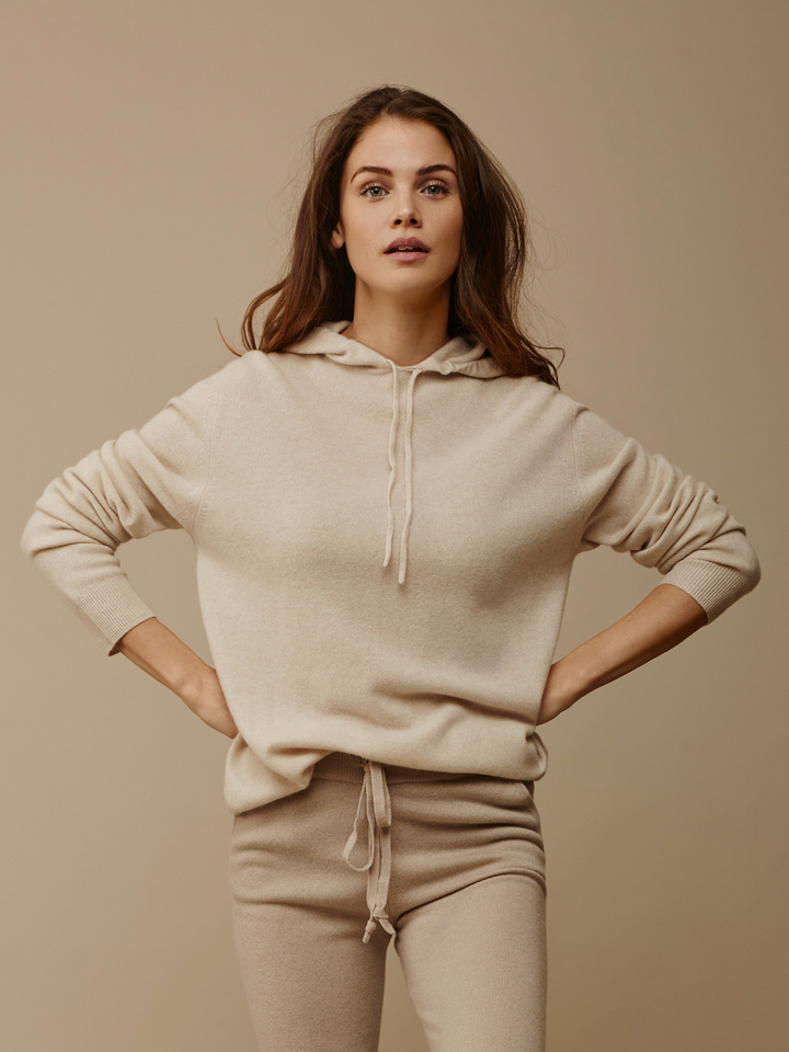 Soft Goat Hoodie Without Zipper Beige
