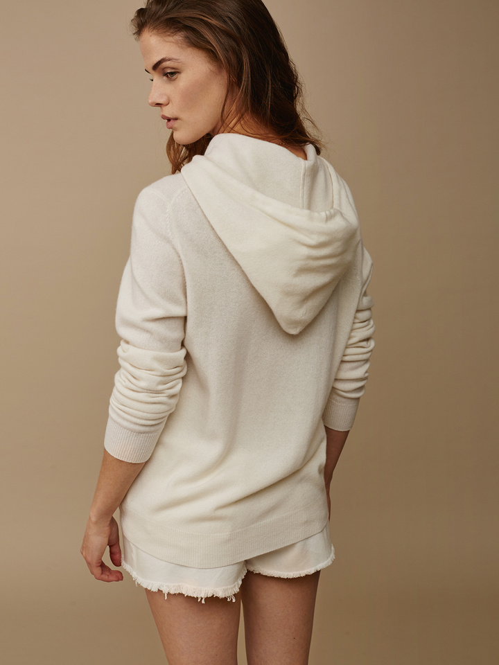 Soft Goat Hoodie Without Zipper Off White