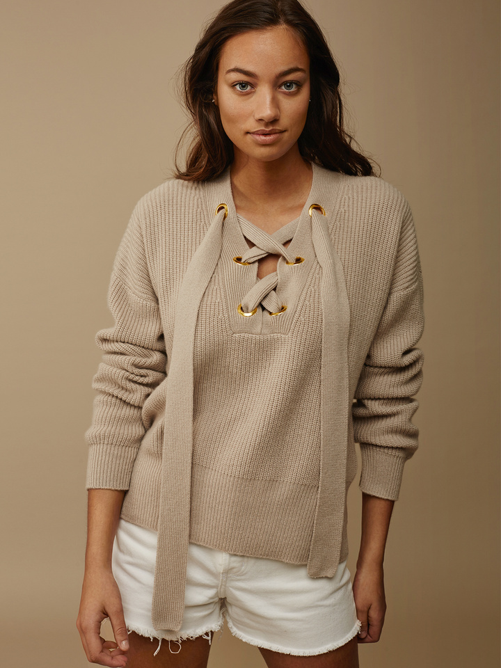 Soft Goat Lace Up Sweater Sand