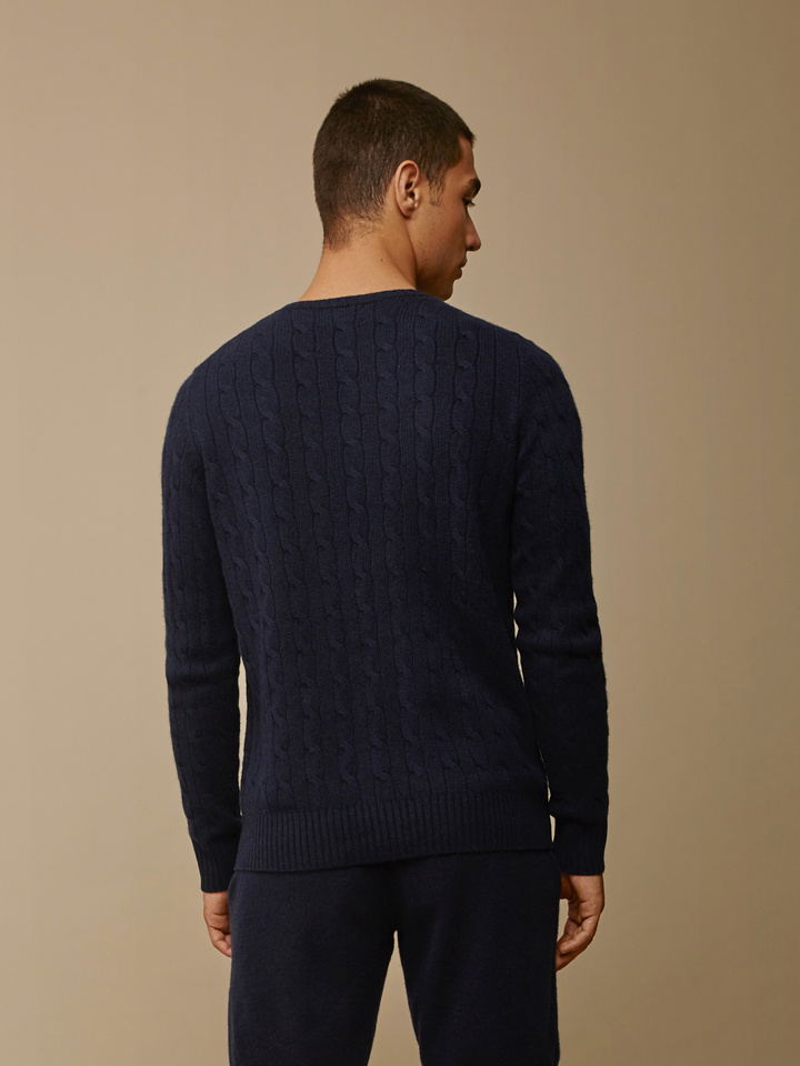 Soft Goat Men's Cable Knit Navy