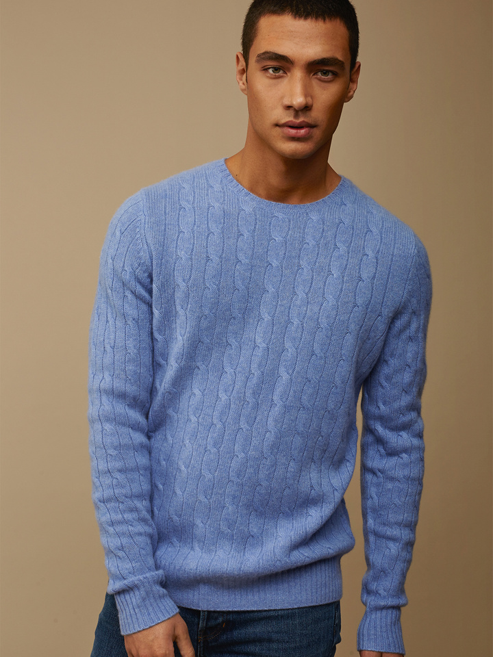Soft Goat Men's Cable Knit Aqua Blue