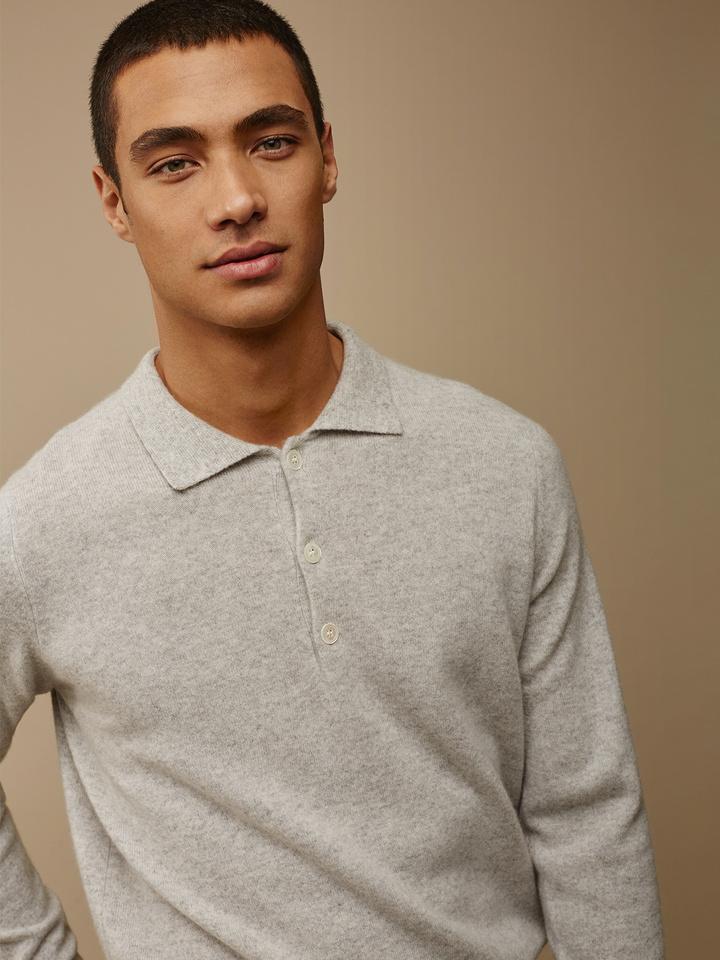 Soft Goat Men's Collar Sweater Light Grey