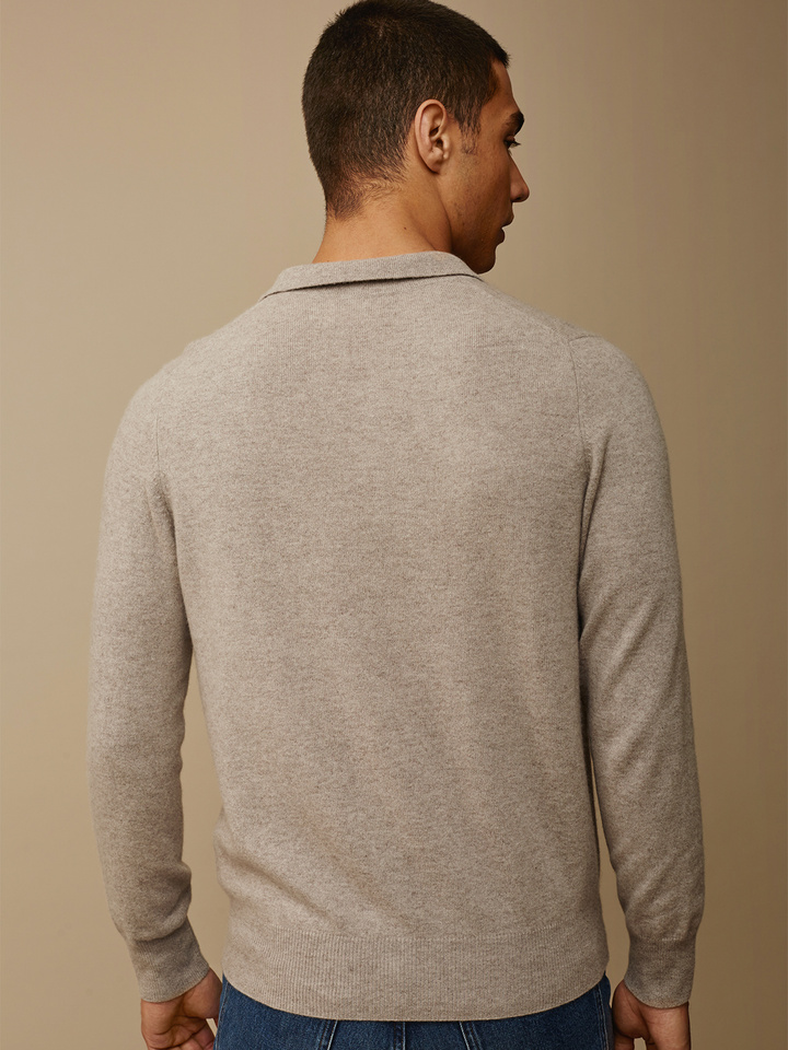 Soft Goat Men's Collar Sweater Light Taupe