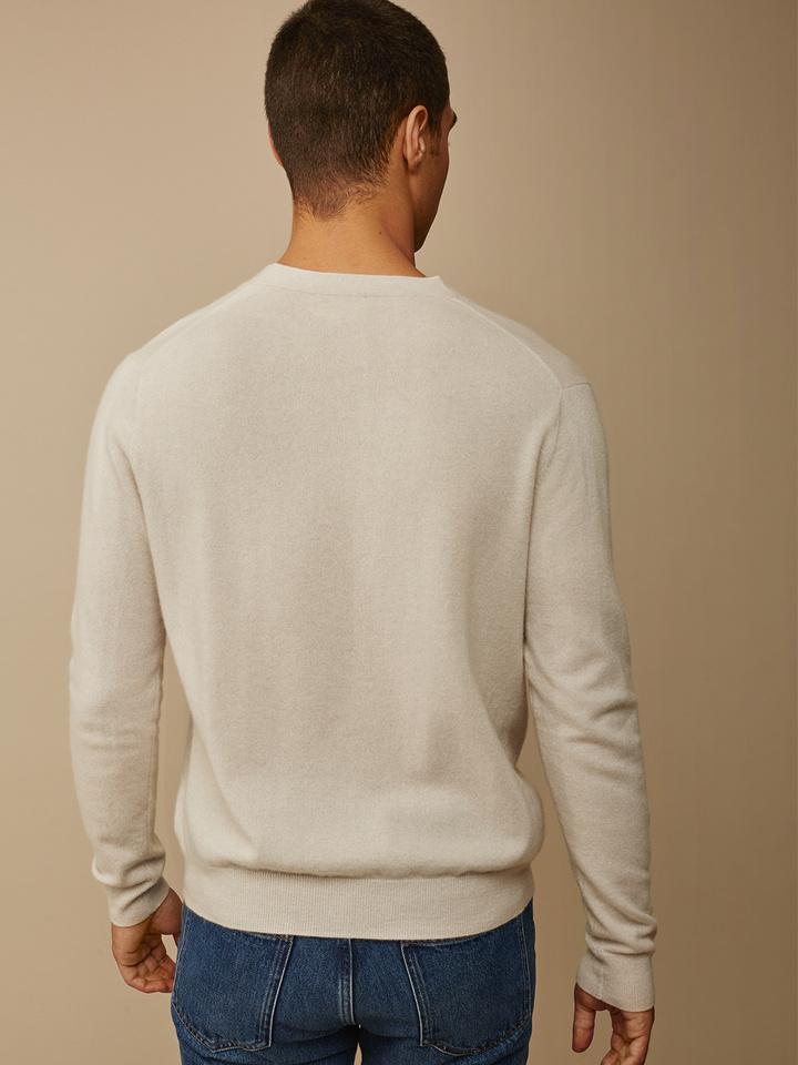 Soft Goat Men's Fine Knit Cardigan Beige