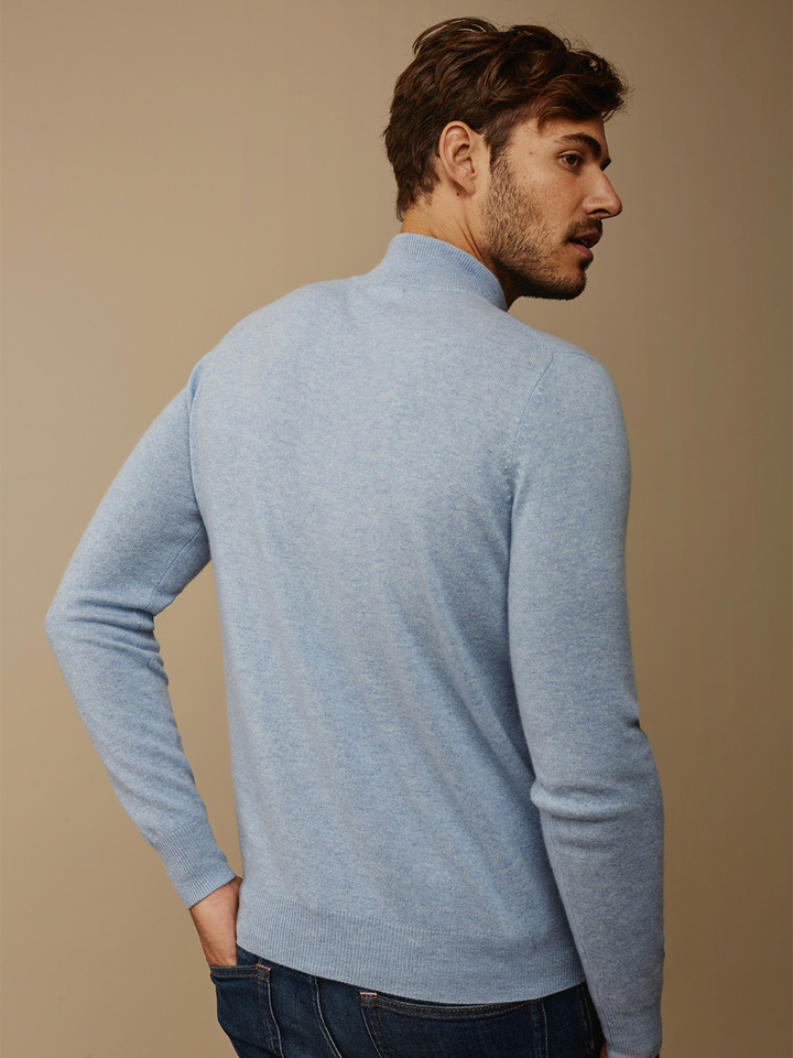 Soft Goat Men's Half Zip Light Blue