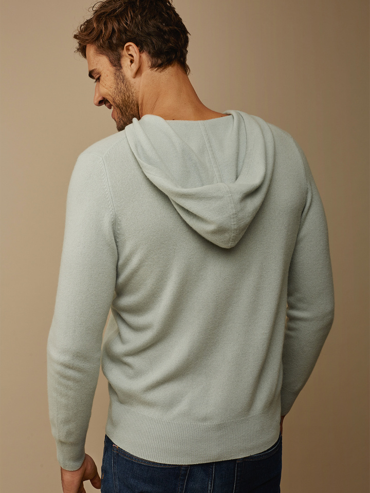 Soft Goat Men's Hoodie With Buttons Seasalt