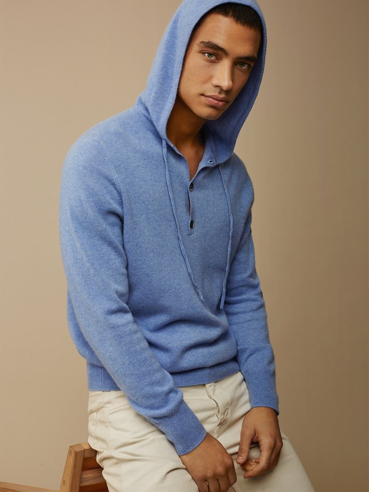 Soft Goat Men's Hoodie With Buttons Aqua Blue