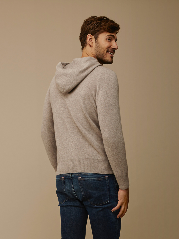 Soft Goat Men's Hoodie With Buttons Light Taupe