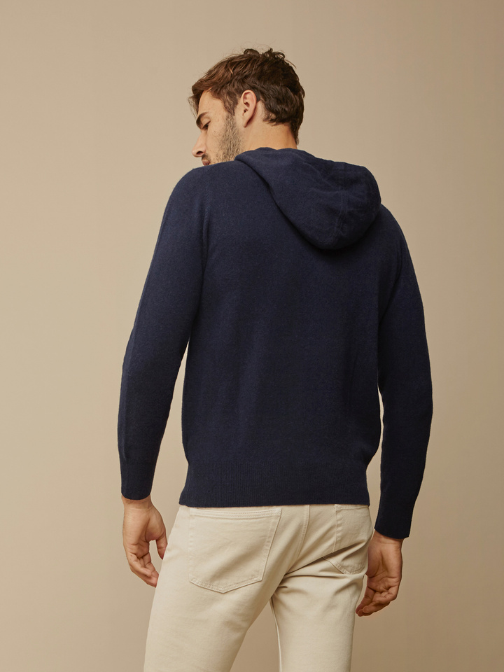 Soft Goat Men's Hoodie With Buttons Navy