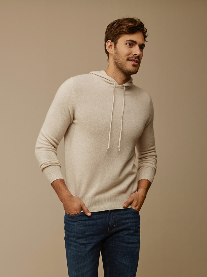 Soft Goat Men's Hoodie Without Zipper Beige