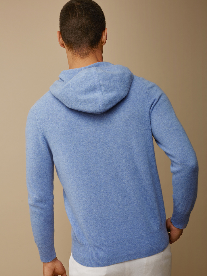 Soft Goat Men's Hoodie Without Zipper Aqua Blue