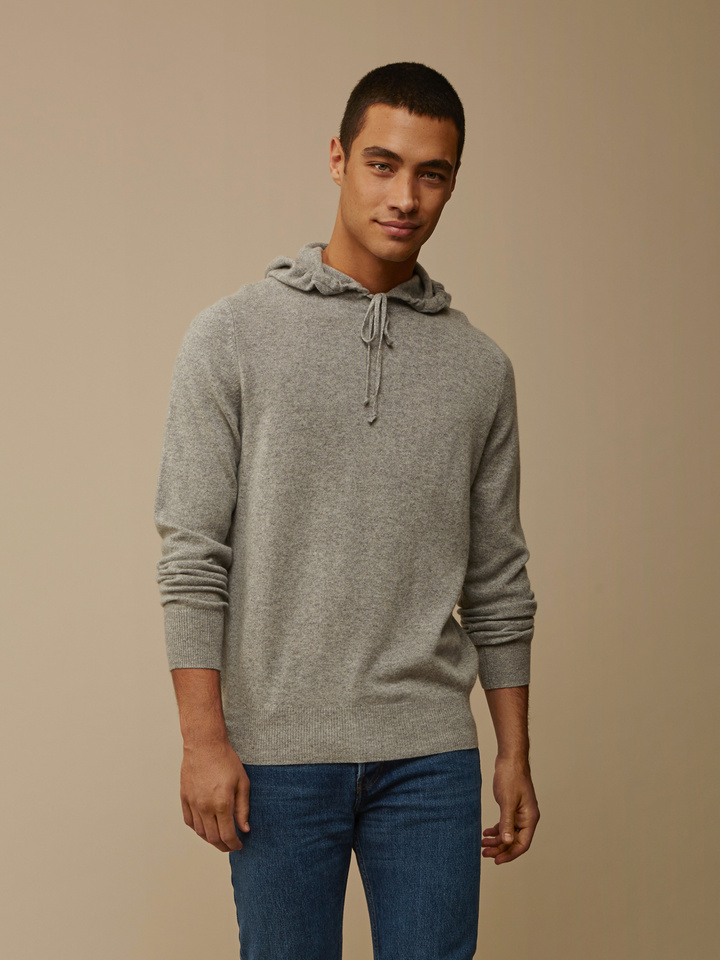 Soft Goat Men's Hoodie Without Zipper Grey