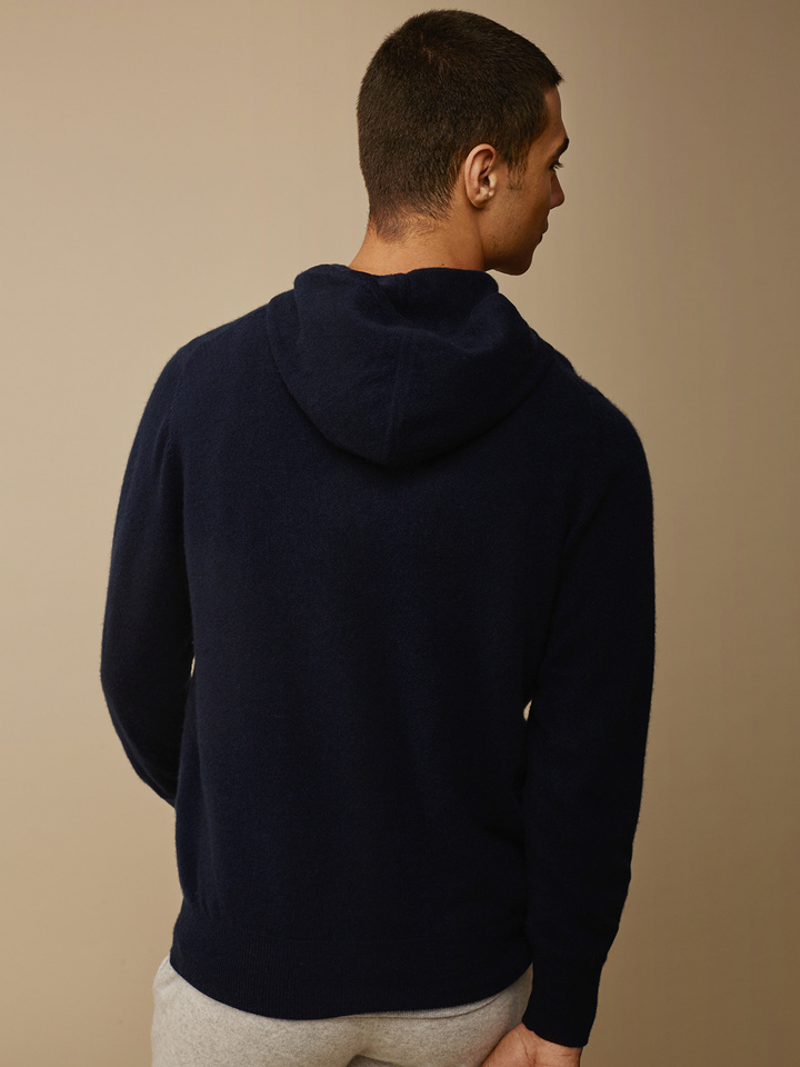 Soft Goat Men's Hoodie Without Zipper Navy