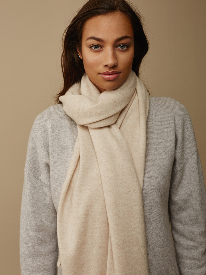 Soft Goat Plain Knitted Scarf Beige Beige