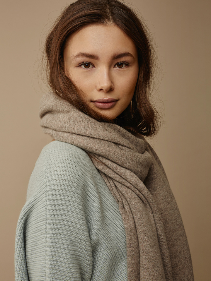 Soft Goat Plain Knitted Scarf Light Taupe Light Taupe
