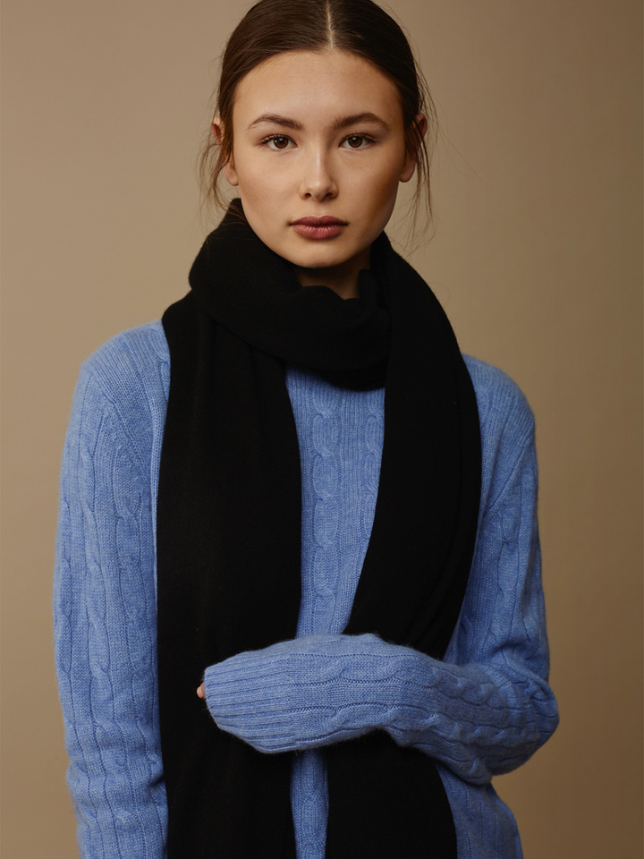 Soft Goat Plain Knitted Scarf Black Black