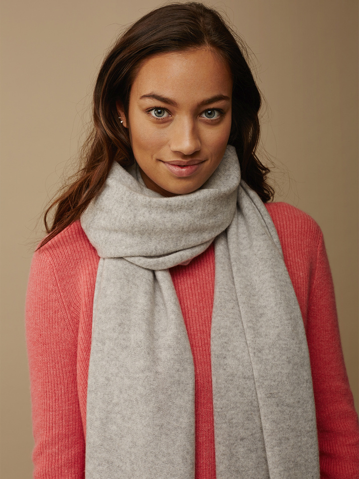 Thumbnail Plain Knitted Scarf Light Grey