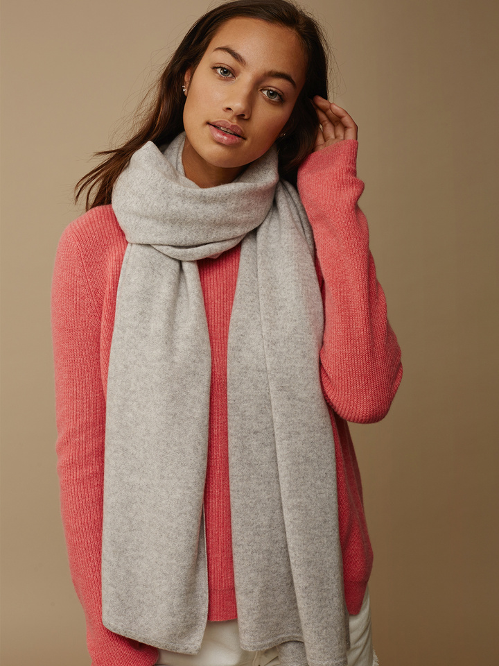 Soft Goat Plain Knitted Scarf Light Grey Light Grey