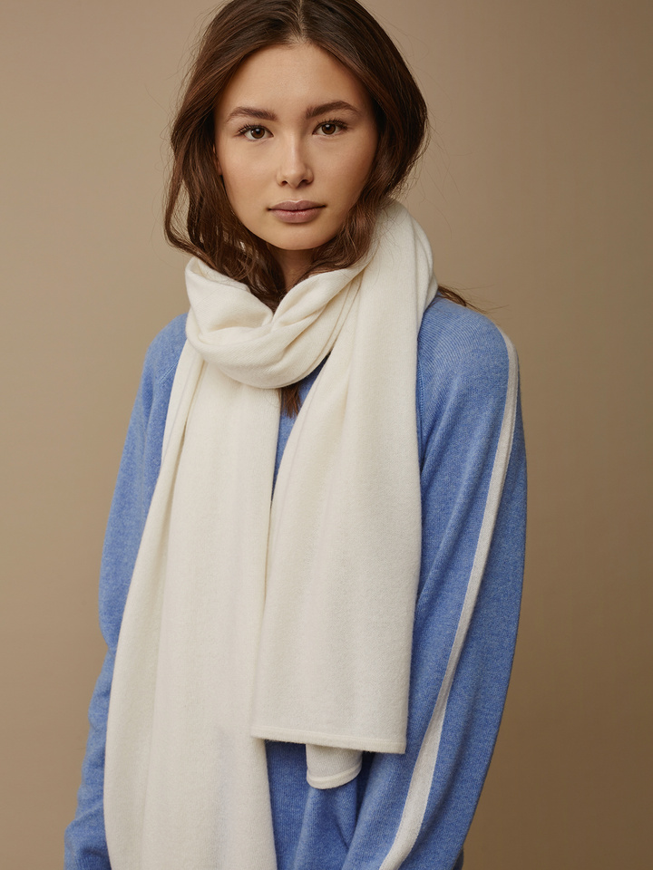 Thumbnail Plain Knitted Scarf Off White